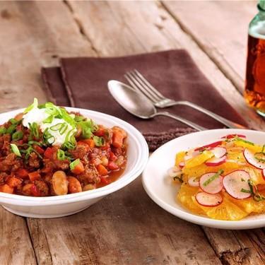 Beef and Chipotle Chili with Orange Radish Salad Recipe | SideChef
