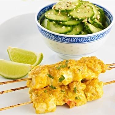 Chicken Satay with Sesame-Cucumber Salad Recipe | SideChef