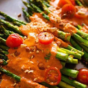 Roasted Asparagus with Romesco Sauce Recipe   SideChef