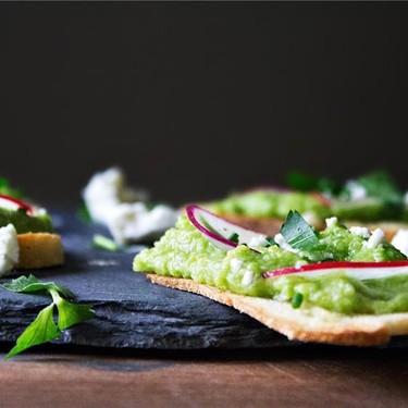 English Pea, Spring Radish & Humboldt Fog Crostini Recipe | SideChef