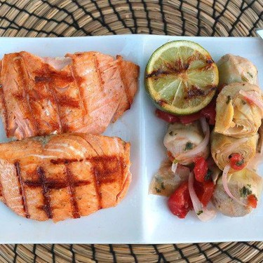 Grilled Salmon with Artichokes Marinated in Raspberry Vinaigrette Recipe | SideChef