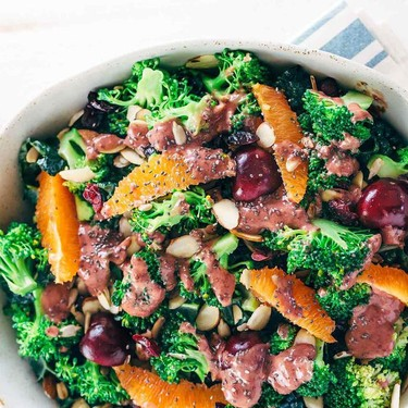 Superfood Broccoli Salad with Cherry Chia Dressing Recipe   SideChef