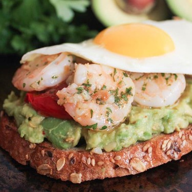 Avocado Toast with Charred Tomato & Garlic Shrimp Recipe | SideChef