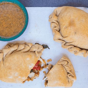 Superfood Veggie Calzone with Spiced Dipping Sauce Recipe   SideChef