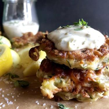 Zucchini Fritters with Lemon Caper Aioli Recipe   SideChef
