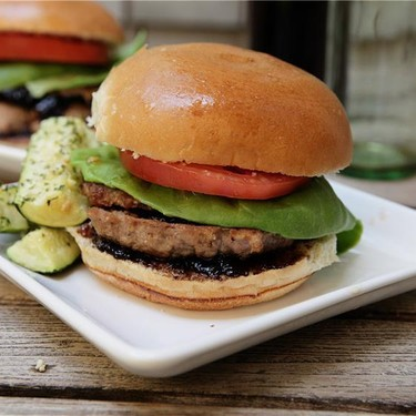 Turkey Burgers with Balsamic-Fig Preserves and Roasted Parmesan Zucchini Sticks Recipe | SideChef