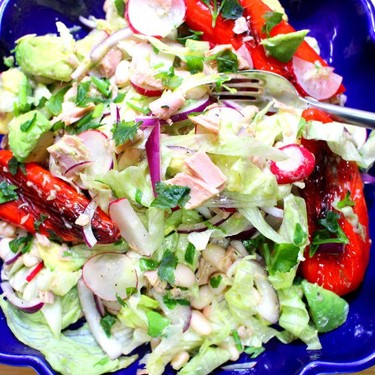 Avocado, Radish and Roasted Red Pepper Tuna Salad Recipe | SideChef