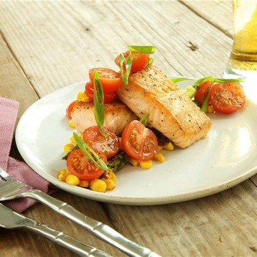 Crispy Salmon Succotash with Parmesan Asparagus Recipe   SideChef