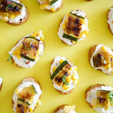 Whipped Feta, Corn, & Zucchini Crostini Recipe   SideChef