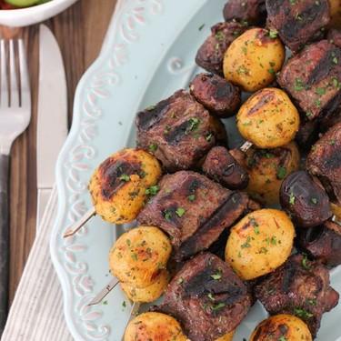 Steak, Mushroom and Potato Kebabs Recipe | SideChef