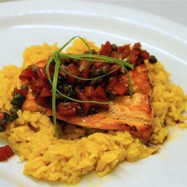 Seared Salmon Filets & Bamboo Rice with Tomato Salsa Recipe | SideChef