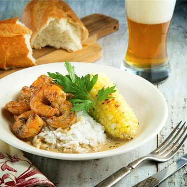 """New Orleans """"BBQ"""" Shrimp with Roasted Corn Recipe 