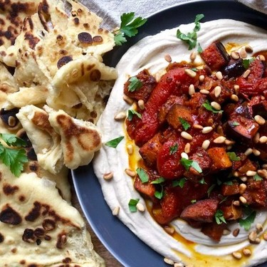 Moroccan Roasted Eggplant with Stewed Tomatoes Recipe | SideChef