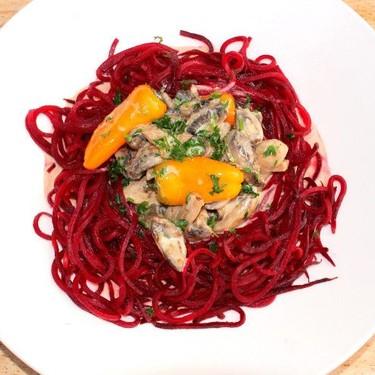 "Red Beet ""Pasta"" with Mushroom Cream Recipe   SideChef"