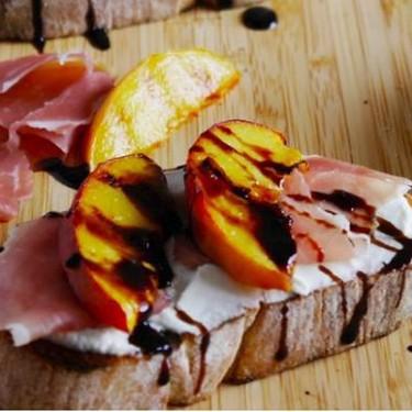 Grilled Peach and Parma Ham Bruschetta With Cream Cheese Recipe   SideChef