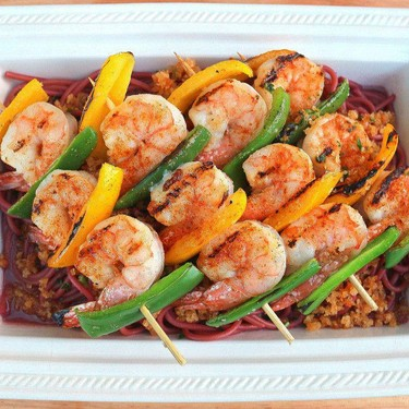 Grilled Shrimp and Peppers-Brochette with Red Wine-Bucatini and Pangrattato Recipe | SideChef