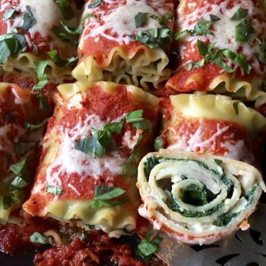 Lasagna Rolls with Roasted Red Pepper Sauce Recipe   SideChef