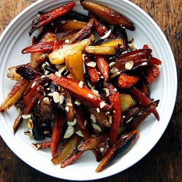 Twice-Roasted Carrots with Honey and Almonds Recipe | SideChef