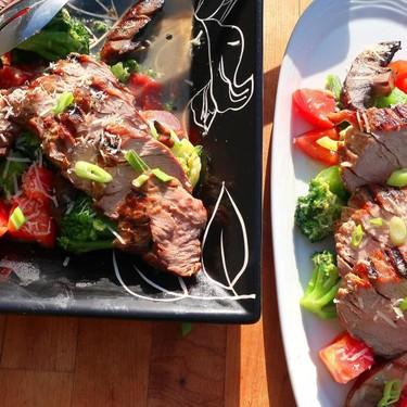 Grilled Pork Tenderloin with Portobello, Broccoli and Tomato Recipe | SideChef