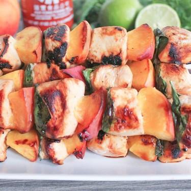 Sriracha Chicken Skewers with Peaches and Basil Recipe | SideChef