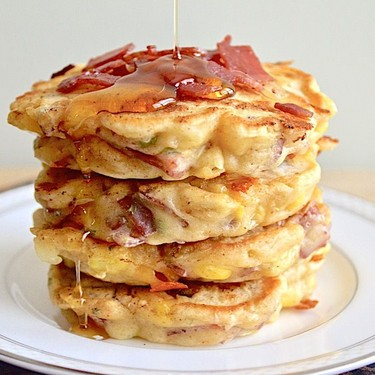 Cheesy Turkey Bacon and Corn Griddle Cakes Recipe | SideChef
