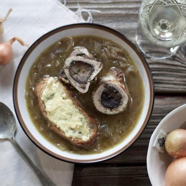 French Onion Soup with Roasted Marrow Bones Recipe | SideChef