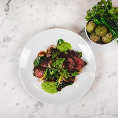 Cast Iron Steak, Charred Onions & Salsa Verde Recipe | SideChef
