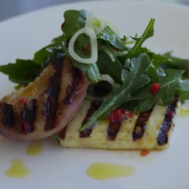 Grilled Peach and Haloumi Salad Recipe | SideChef