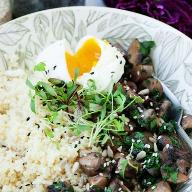 Couscous Porridge with Mushroom and Poached Egg Recipe   SideChef