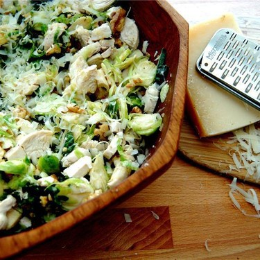 Brussels Sprout Kale Salad with Chicken Recipe   SideChef