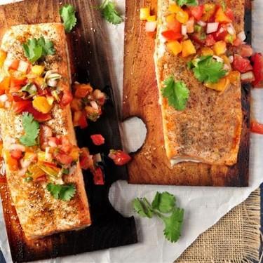 Cedar Plank Salmon with Peach Pico De Gallo Recipe   SideChef