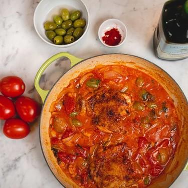 Olive-Tomato Braised Chicken Thighs Recipe   SideChef