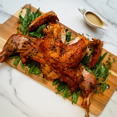 Herb-Roasted Spatchcock Turkey and Gravy Recipe   SideChef