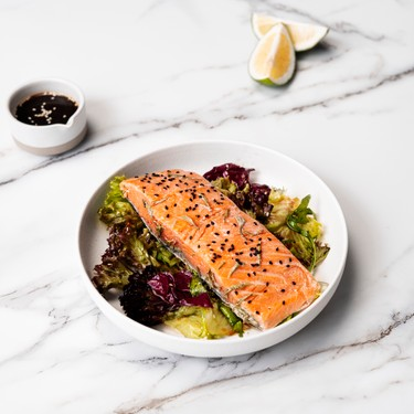 Air Sous Vide Green Tea Salmon with Asian Salad Recipe | SideChef