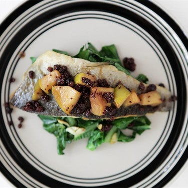 Trout Filet with Apple Mostardo and Collard Greens Recipe | SideChef
