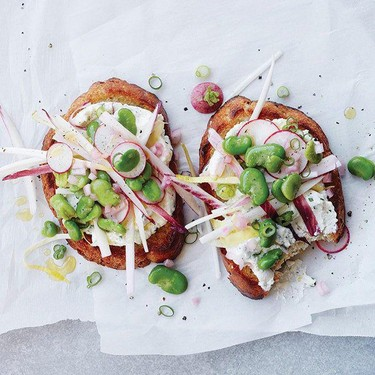 Endive and Fava Salad Tartines with Herbed Ricotta Recipe   SideChef