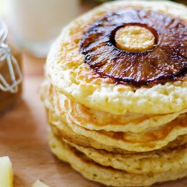 Pineapple Upside Down Pancakes with Coconut Syrup Recipe | SideChef
