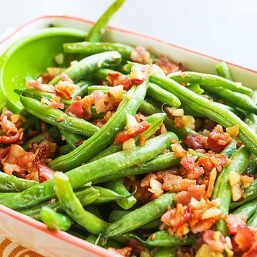Green Beans with Garlic and Bacon Recipe   SideChef