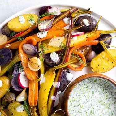 Roasted Root Vegetables with Yogurt Ranch Sauce Recipe | SideChef