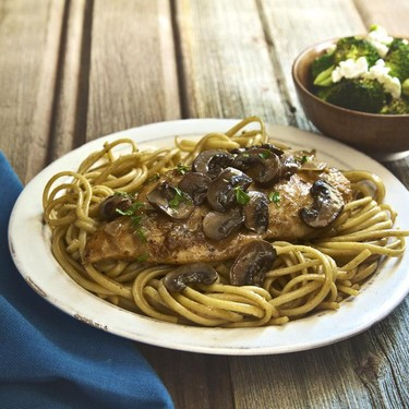 Chicken Marsala with Linguine and Roasted Broccoli Recipe | SideChef