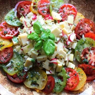 Cheese & Tomato Salad in Herb Vinaigrette Recipe | SideChef