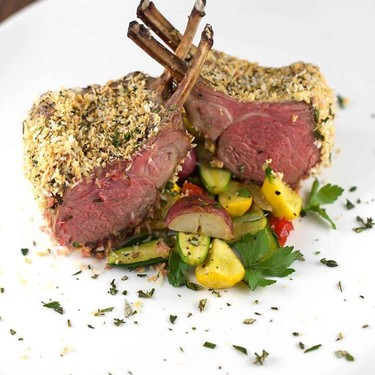 Panko Herb Crusted Rack of Lamb with Vegetables Recipe | SideChef