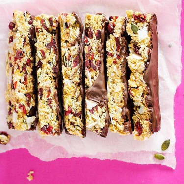 Chocolate-Dipped Chewy Granola Bars Recipe | SideChef