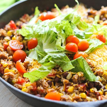 One-Pan Rice and Beans Taco Skillet Recipe | SideChef