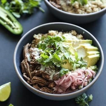 Speedy Five-Spiced Pork Burrito Bowls with Quinoa Recipe   SideChef