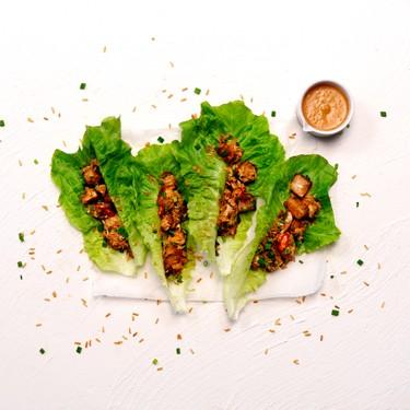 Tofu & Crispy Brown Rice Lettuce Wraps with Peanut & Lime Sauce Recipe   SideChef