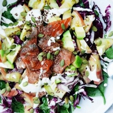 Baby Spinach and Radicchio Salad with Cured Salmon Recipe | SideChef