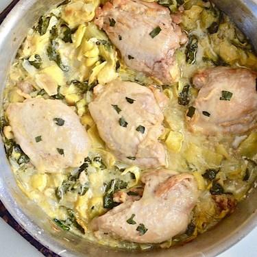 Spinach Artichoke Skillet Chicken Recipe | SideChef