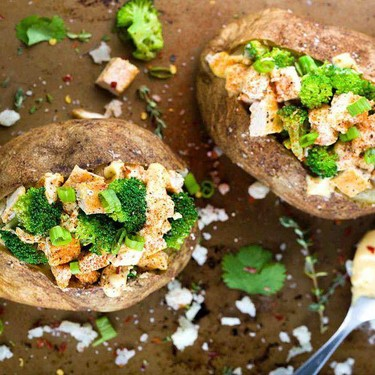 Chicken Broccoli Stuffed Baked Potato with Cheese Recipe | SideChef
