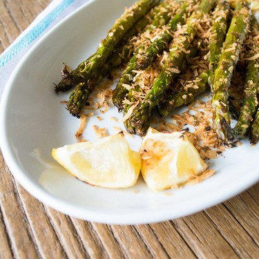 Lemon Ginger Asparagus with Toasted Coconut Recipe | SideChef